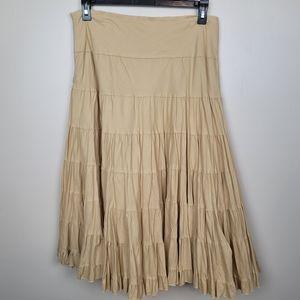 Studio 1940 Tan Boho Tiered Flowy Skirt size L